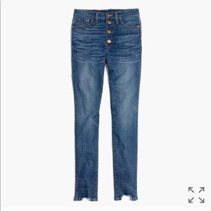 "Madewell 10"" high rise skinny jeans w/ chewed hem"